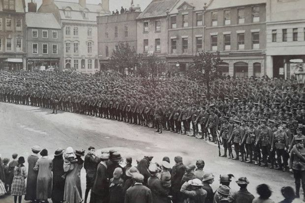 """Morpeth Town Centre, taken during 1914. Provided by MorpethTown Councillor David E. Clark. He said """"233 of Morpeths sons would never return.  A most poignant picture I always think."""""""