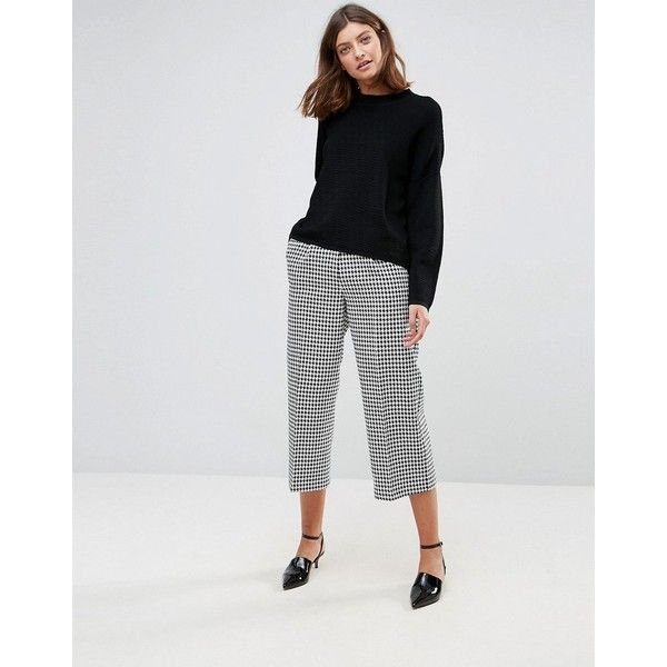 ASOS Tailored Houndstooth Longer Length Culotte ($64) ❤ liked on Polyvore featuring pants, capris, multi, shiny stretch pants, stretch pants, houndstooth pants, tall pants and shiny pants