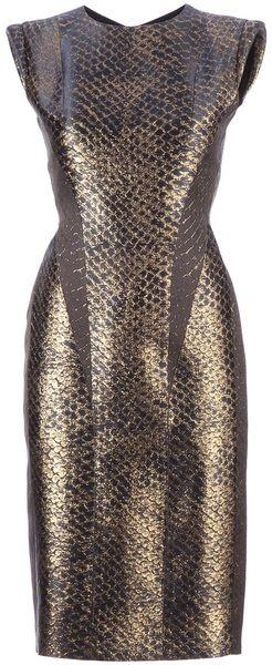 MIHARA YASUHIRO Gold Snakeskin Print Dress  - Lyst