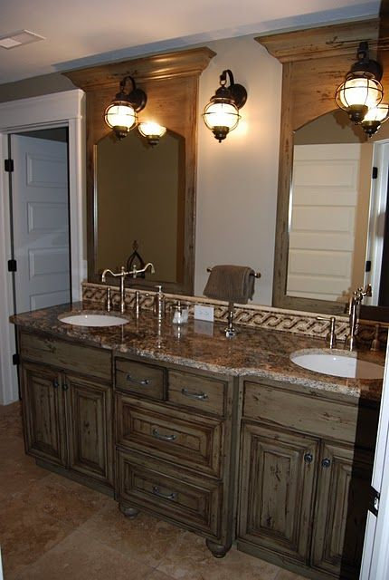 Love how this vanity looks like a built in cabinet for Built in bathroom vanities and cabinets