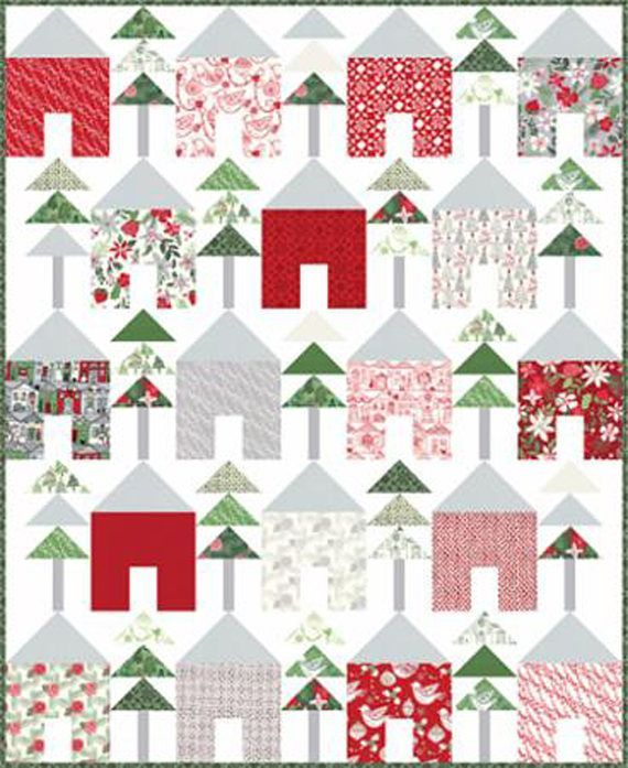 NEW Moda Christmas/Holiday Quilt Kit by Moda Designer Kate Spain.  Layer cake Christmas quilt using the Merry Merry Fabric Line.  Modern Christmas quilt.  affiliate link.