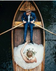 Gorgeous bride and groom photo in a boat