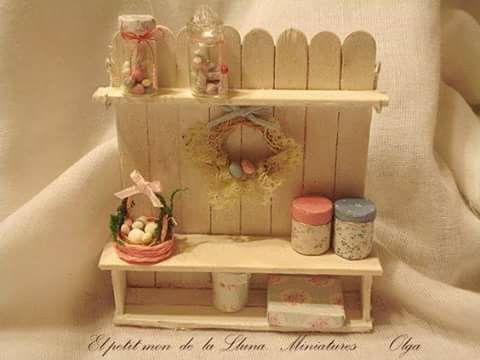 Sweet shelf and bench for garden room