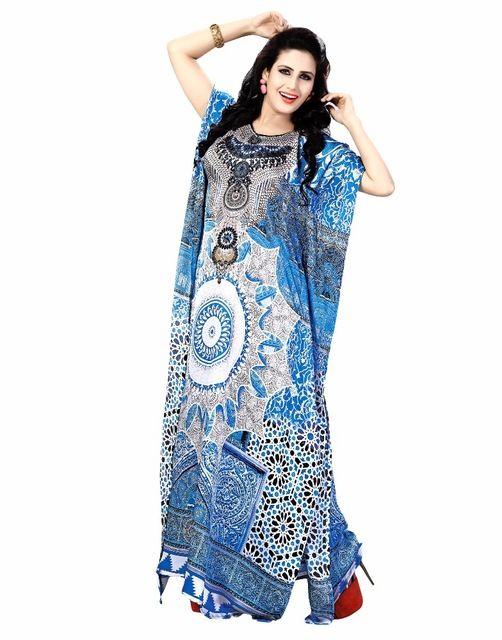 Source Cheerful Summer Wear Digital Printed Silk Plus Size Long Kaftan (kaftan dress) on m.alibaba.com