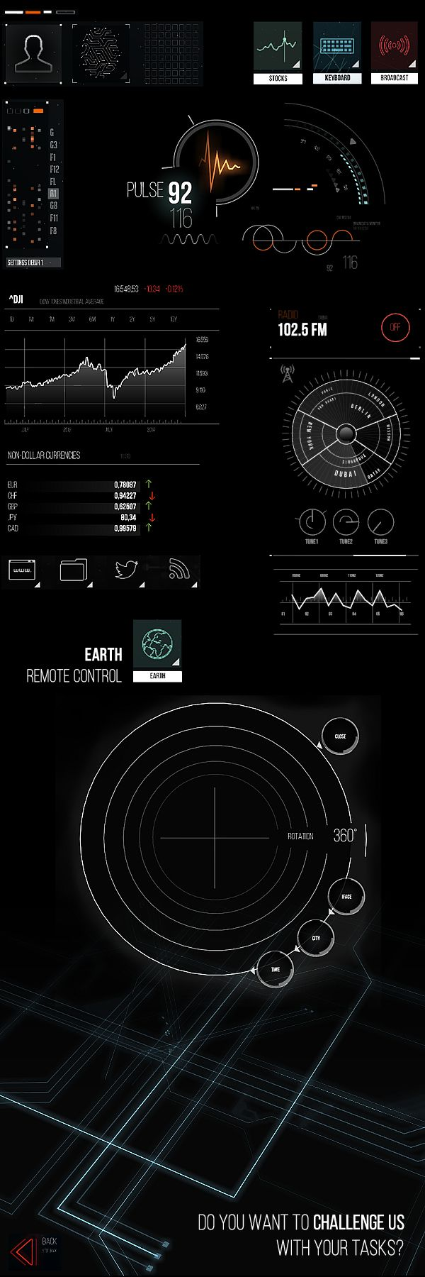 Futuristic UI elements.