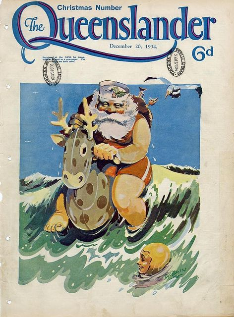Illustrated front cover from The Queenslander December 20 1934. Via State Library of Queensland Flickr. #Christmas #vintage