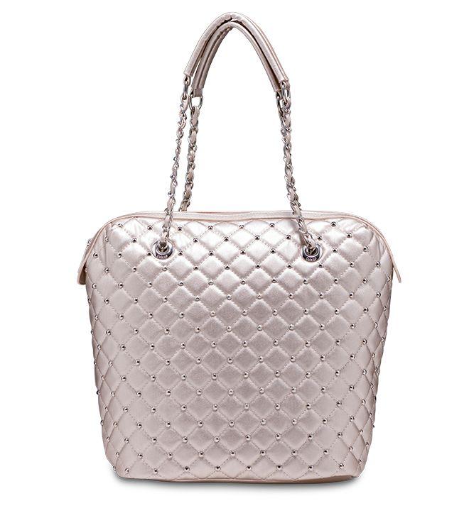 #Shopping bag #matellassè metallizzata con manici a catena. Perfetta per il giorno e per la sera. Modello Lavanda by #Caleidos