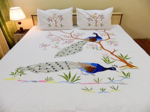 Peacock Cotton Designer Double BedCover