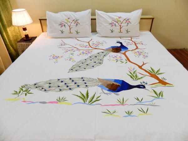 Peacock Cotton Designer Double BedCover