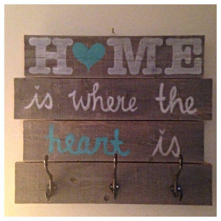 Reclaimed wood sign & coat hanger Home is by furniturebyACAHR, $70.00