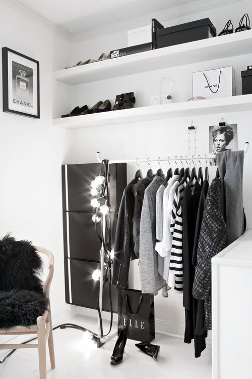 Black and white closet space.
