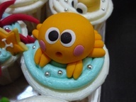 crab cupcake by induren, #cupcakes