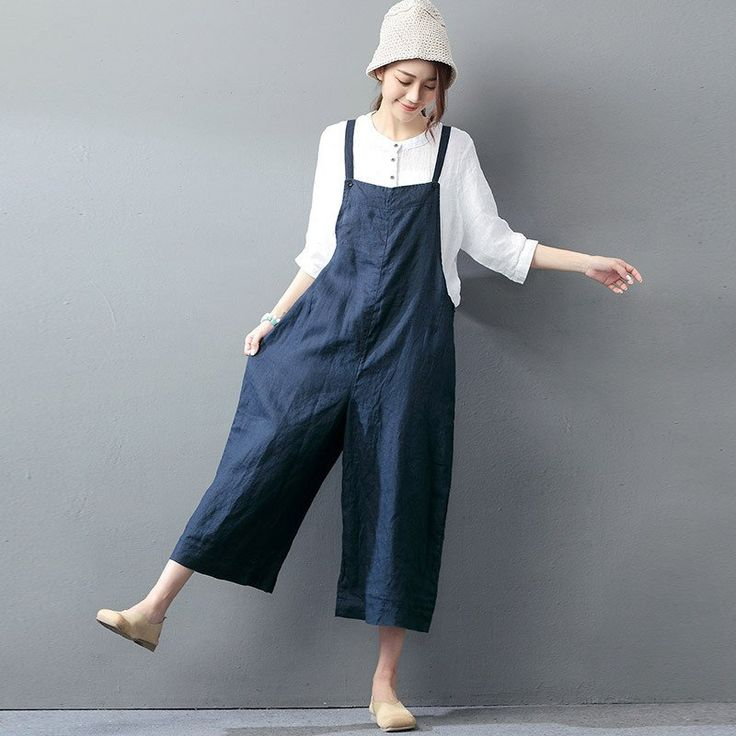 Casual loose jumpsuit linen overall for a refreshing look