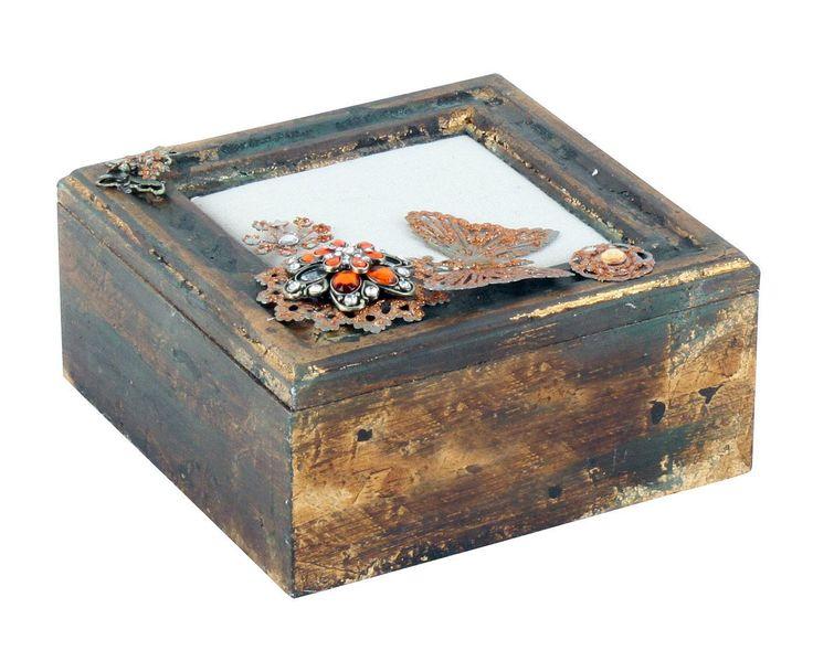 Boîte Polyrésine et métal, Bronze - L16   Westwing Home & Living