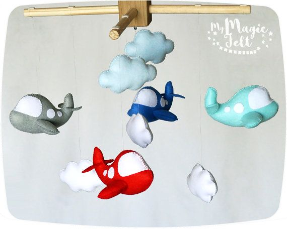 Baby boy mobile airplane Baby mobile clouds baby mobiles Nursery mobile cloud Sky baby mobile nursery decorations Travel baby mobile