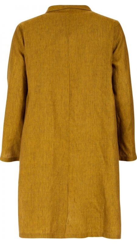"""</span></p> <span style=""""color: #000000; font-family: arial, helvetica, sans-serif; font-size: 8pt; line-height: normal; text-align: center; white-space: pre-wrap;"""">Knee length coat in yellow linen. </span></p> <span style=""""color: #000000; font-family: arial, helvetica, sans-serif; font-size: 8pt; line-height: normal; text-align: center; white-space: pre-wrap;"""">Long raglan sleeves. </span><&#x2..."""