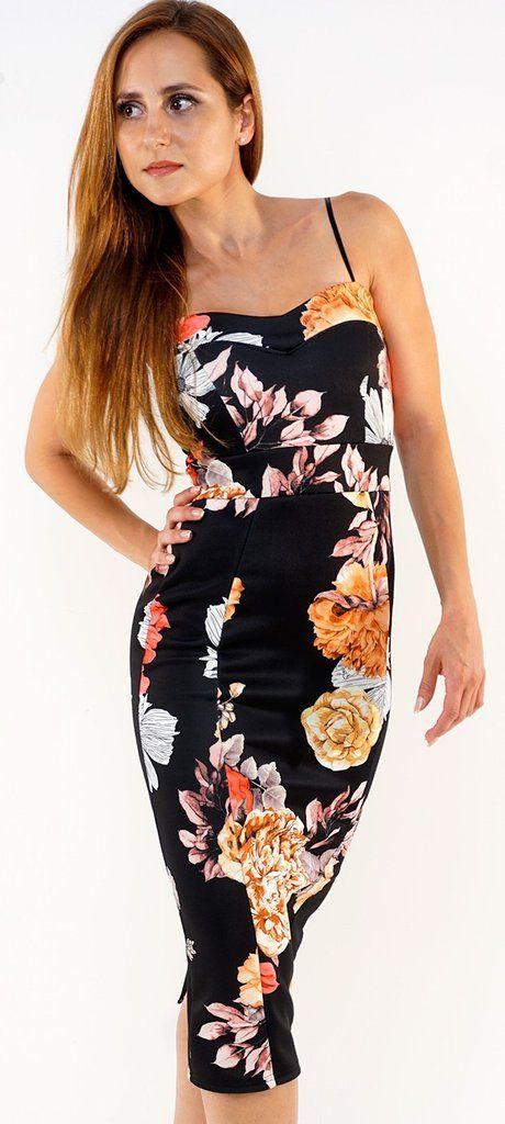 georgious floral sweetheart neckline midi dress