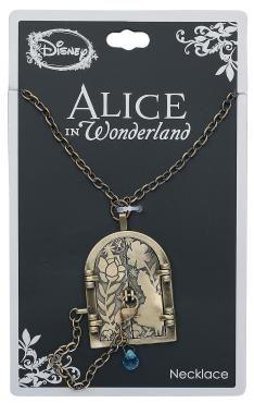 - goldfarbene Halskette mit einem Anhänger in Tür-Form, hinter der sich das Wunderland verbirgt - mit Curiouser & Curiouser-Schriftzug im Inneren - mit einem Kettchen mit Glasstein und einem Haken zum Verschließen der Tür - Tür im Alice im Wunderland-Design - verstellbare Kettenlänge von ca. 50 bis 60 cm - Anhängermaße: geschlossen: ca. 3 x 4 cm, offen: ca. 5 x 4 cm  Alice steht in einem Raum doch es scheint keinen Ausgang zu geben, oder übersieht sie da etwas? Eine winzige Tür scheint di...