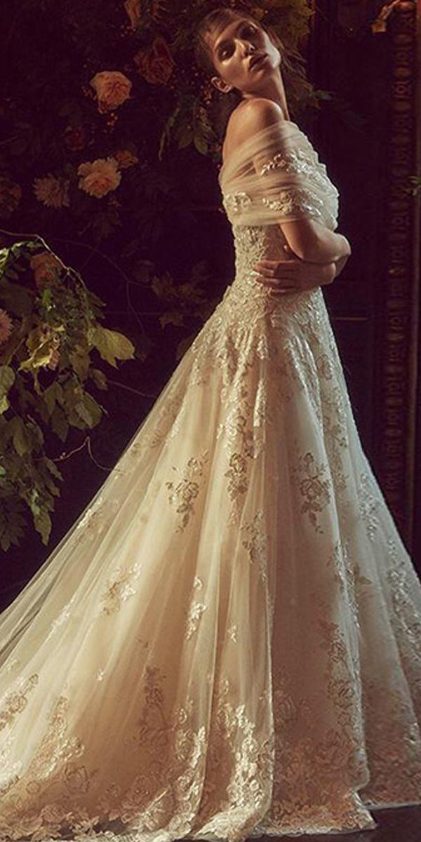 86ac8bee635 Winsome Tulle Off-the-shoulder Neckline A-line Wedding Dresses With Lace  Appliques