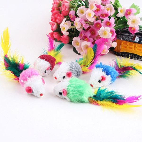 10Pcs/lot Soft Fleece Colorful Feather False Mouse Funny Toys For Cats and Kitten