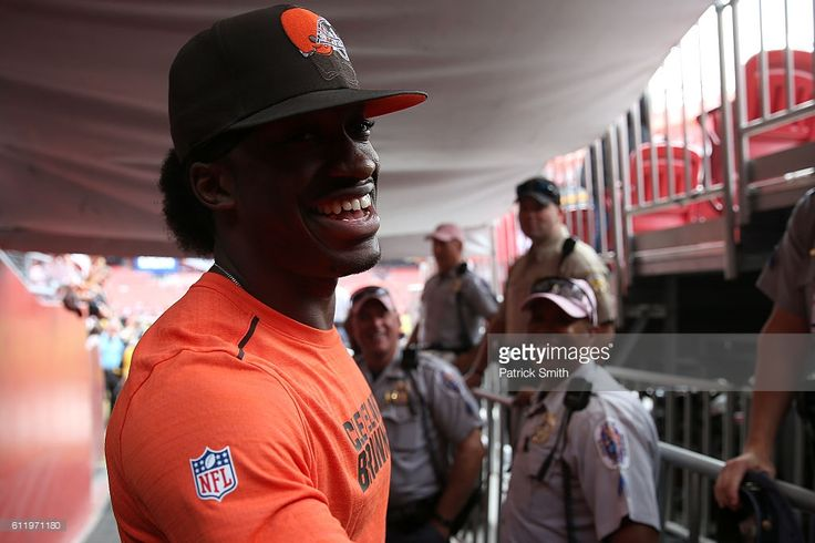 Quarterback Robert Griffin III #10 of the Cleveland Browns looks on prior to a game against the Washington Redskins at FedExField on October 2, 2016 in Landover, Maryland.