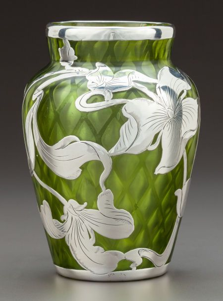 Art Glass:Steuben, A STEUBEN GREEN QUILTED GLASS VASE WITH LA PIERRE SILVER OVERLAY .Steuben Glass, Corning, New York, circa 1900.