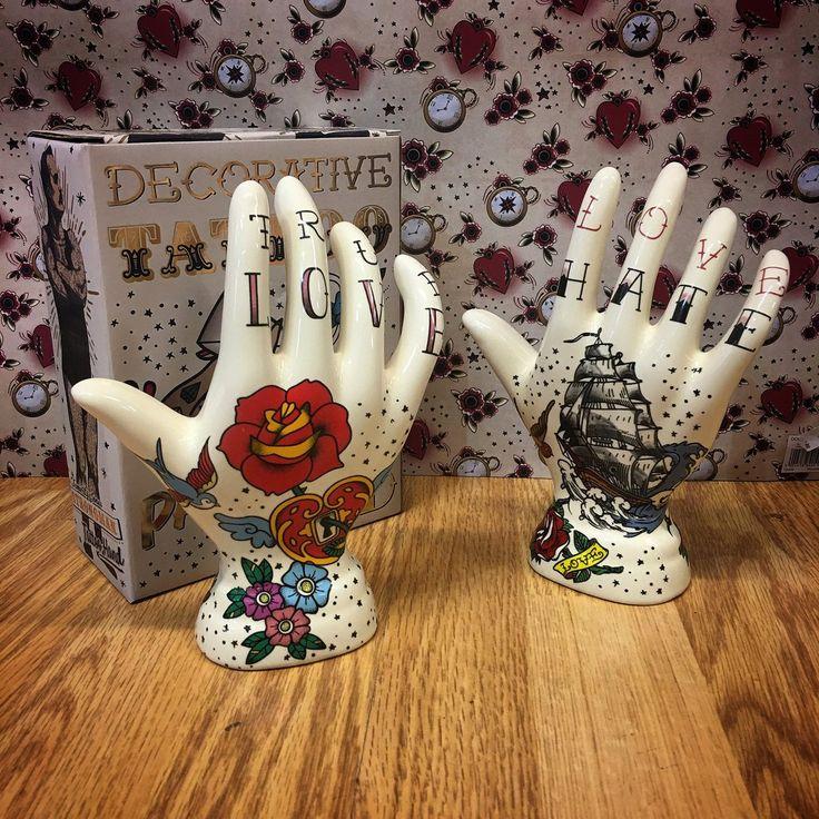 Temerity Jones Tattoo Love Hate Palmistry Hand Ornament - Kiss Kiss Heart
