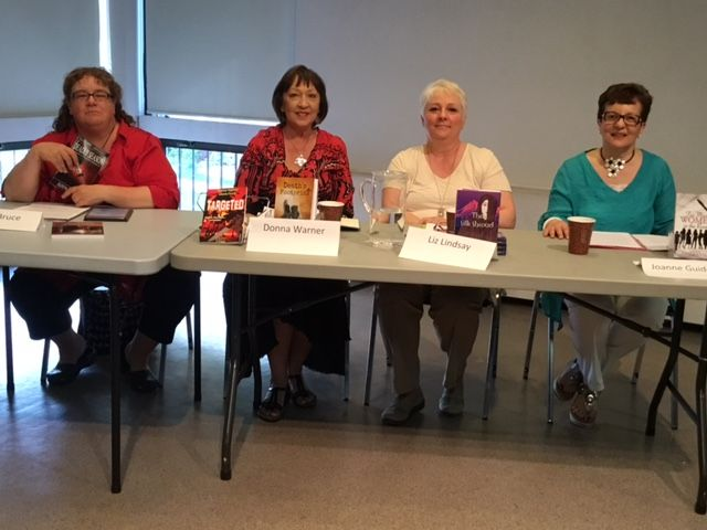 """May 17/17 Guelph author panel discussing """"Nuts & Bolts of Writing"""" L-4: Alison Bruce, Donna Warner, Liz Lindsay (writing as Jamie Tremain), and Joanne Guidoccio"""