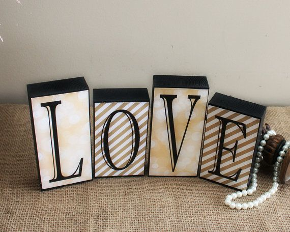 Love Letter Blocks - Love Sign - Wedding Reception Sweet Heart Table Prop - Home Decor Wood Blocks - Valentines Gift - Mantle Decoration
