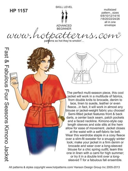 Hot patterns' Kimono Jacket - could be amazing in a structured fabric