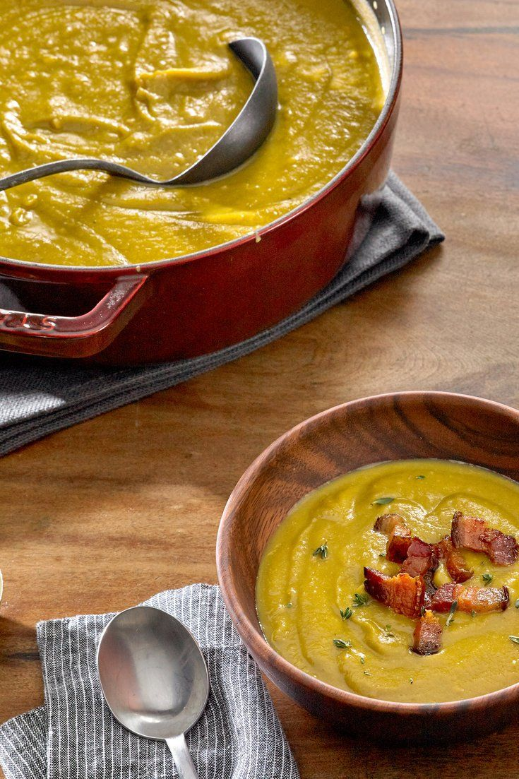 This is a thick, mellow split pea soup with a whisper of meaty smoke and the brambly fragrance of thyme The recipe is easy and copious, and the soup freezes well Look for split peas that have a use-by date on the package and are relatively fresh; they will cook faster and better.
