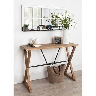 Kate and Laurel Travere Wood and Metal Console Table - 42x16x30