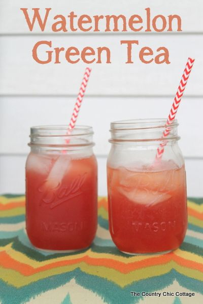 Watermelon Green Tea Recipe -- a great recipe for a unique summer drink plus even more summer recipes linked up for all of your cooking need...