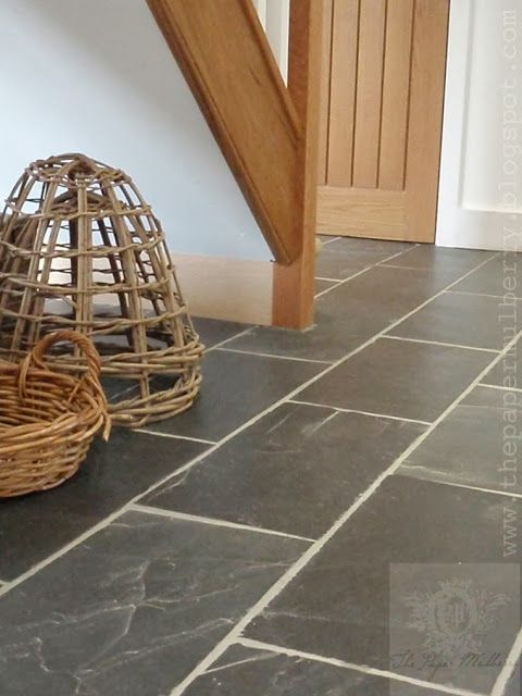 grey slate floor tiles and new oak - The Paper Mulberry: My HOME