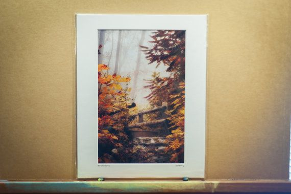 A Misty Footbridge in fall signed 8x12 color by ScottNorrisPhoto, $40.00