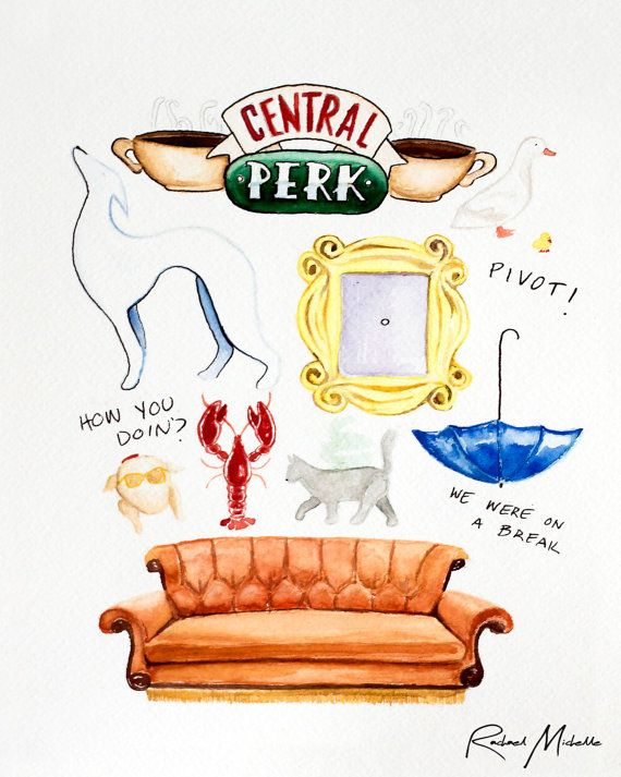 Friends TV Show Watercolor Illustration by RachaelMichelleArt