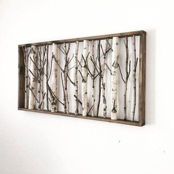 white birch forest wall art – 48 x 24, birch trees wall art, birch branch decor, large wall art, bir