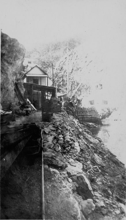 303500PD: Carpenters shop, office, number one jetty and air line, Koolan Island, 1936 http://encore.slwa.wa.gov.au/iii/encore/record/C__Rb3762759?lang=eng