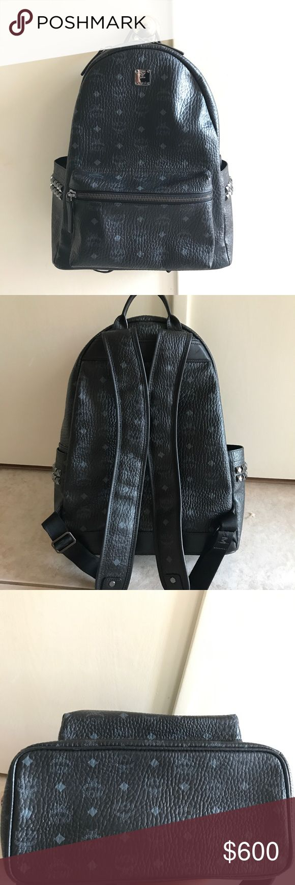 """Medium Stark Coated Canvas Backpack Authentic MCM Backpack in black leather. 13""""W x 16 ½""""H x 6""""D. (Interior capacity: extra-large.) this backpack is in like new condition, only thing is the inside logo marked with black marker. See last picture for detail. MCM Bags Backpacks"""