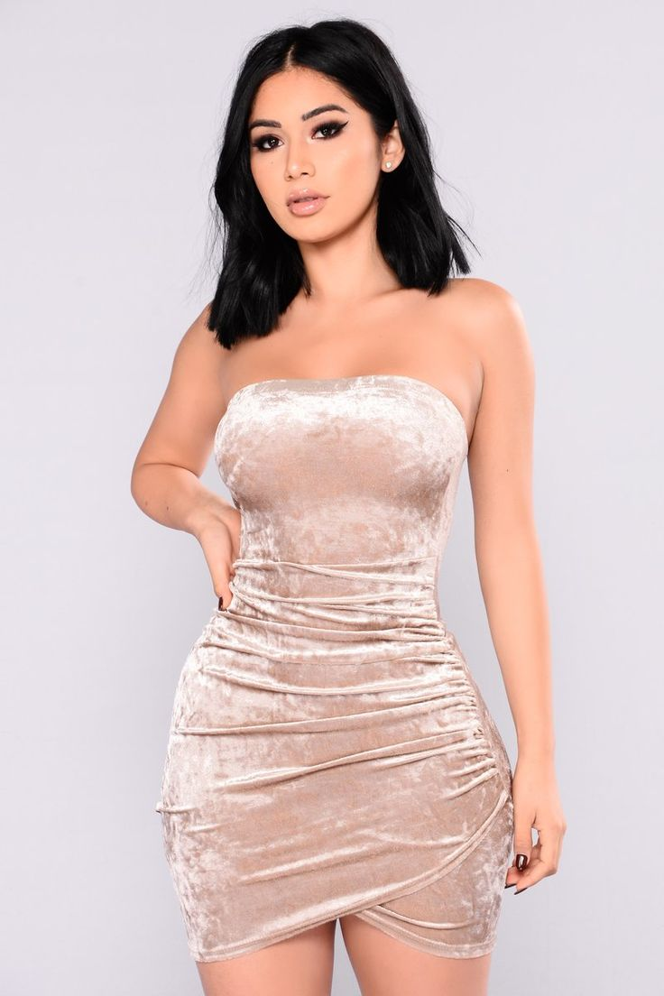 Beating Heart Velvet Dress Champagne Fashion nova