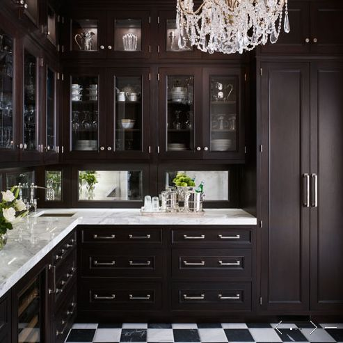 Kitchens Butler 39 S Pantry Espresso Stained Glass Front Kitchen Cabinets Marble Countertops