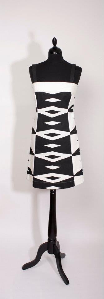 Tailored by FREEMOVER Dress Monaco,  pattern Prisma™, Black/White, designer Maria Lovisa Dahlberg