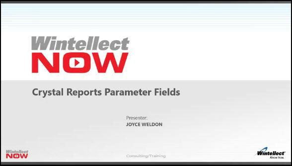 Crystal Reports: Parameter Fields