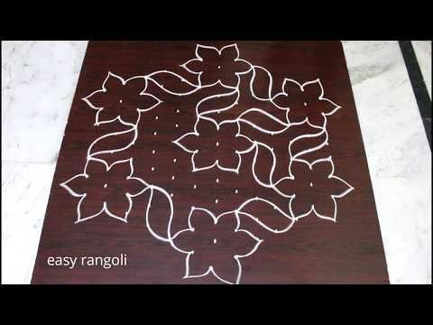 Kolam designs with flowers for Pongal with 13x8 interlaced dots - Sankranthi muggulu easy rangoli - YouTube