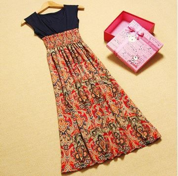 Show details for Women Casual Bohemian Vintage Printed Long Dress