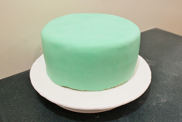 The Idea, three seperate smaller cakes fondant covered, each different flavour.