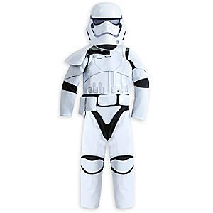 Dress your dedicated soldier in our <i>Star Wars: The Force Awakens</i> Stormtrooper costume including mask, belt with pouch, bodysuit and 3 swappable pauldrons to indicate rank: Officer, Sergeant, and Squad Leader.