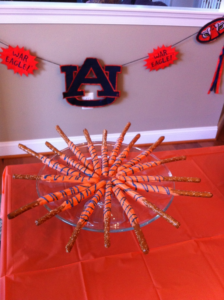 Tiger Tails that I completely took from someone else's board.  So easy and cute for the Auburn game today.