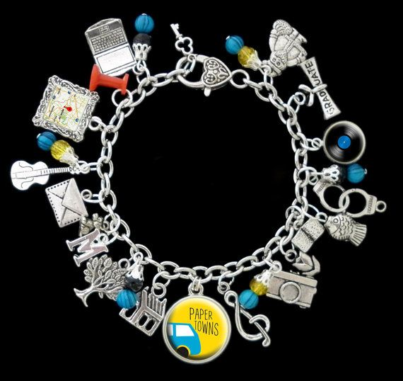 Paper Towns Themed Charm Bracelet by RedRoseUniqueDesigns on Etsy