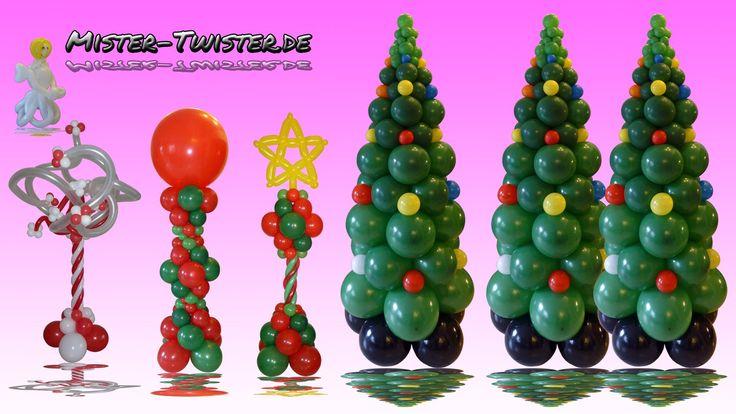 How to make a balloon Christmas Tree. Anleitung um einen Weihnachtsbaum aus Ballons zu gestalten. http://mister-twister.de